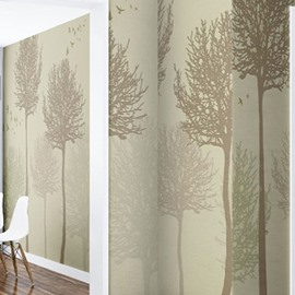 Brown Trees and Birds on Beige Background Waterproof and Eco-friendly 3D Wall Mural