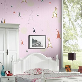 Rabbits on Pink Background 3D Waterproof Wall Mural