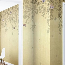 Beige Background with Flowers and Ivies Printed Waterproof and Eco-friendly 3D Wall Mural