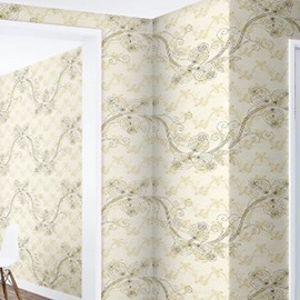 Ivies and Beige Background Durable Waterproof and Eco-friendly 3D Wall Mural