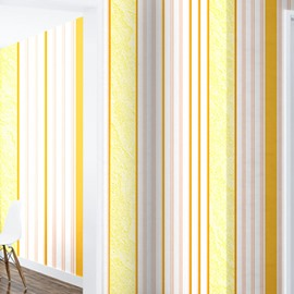 Yellow Vertical Stripes Durable Waterproof and Eco-friendly 3D Wall Mural