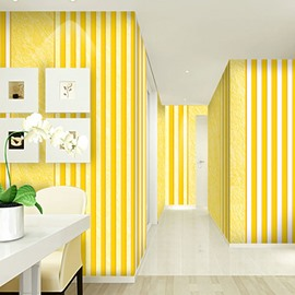 Yellow and White Background Durable Waterproof and Eco-friendly 3D Wall Mural