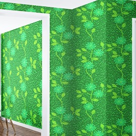 Green Flowers and Background Durable Waterproof and Eco-friendly 3D Wall Mural
