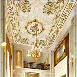 Floral Pattern Luxurious Style Waterproof Durable and Eco-friendly 3D Ceiling Murals