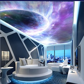 Planet in Universe Pattern Waterproof Durable and Eco-friendly 3D Ceiling Murals