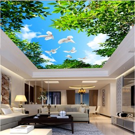 3D Pigeons Flying in Blue Sky Waterproof Durable and Eco-friendly Ceiling Murals