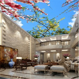 3D Flowers and Trees in Blue Sky Waterproof Durable and Eco-friendly Ceiling Murals