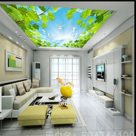 3D Shining Sky with Doves and Leaves Printed Waterproof Durable Eco-friendly Ceiling Murals