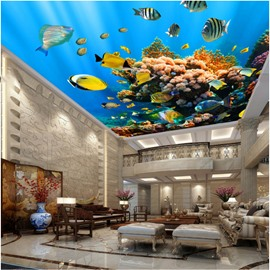 3D Fishes Swimming in Deep Sea Waterproof Durable and Eco-friendly Ceiling Murals