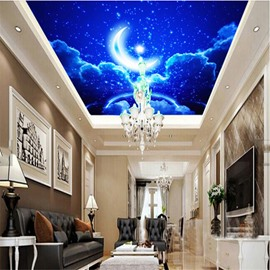 3D Blue Sky with Moon and Stars Waterproof Durable and Eco-friendly Ceiling Murals