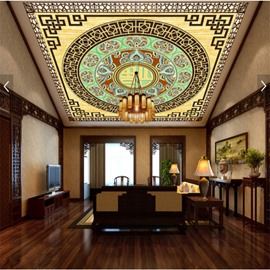 3D Chinese Fu and Floral Pattern Waterproof Durable and Eco-friendly Ceiling Murals