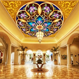 3D Round Frames with Flowers Waterproof Durable and Eco-friendly Ceiling Murals