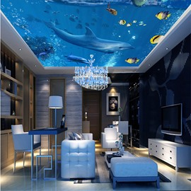 3D Blue Sea Containing Dolphins and Fishes Waterproof Durable and Eco-friendly Ceiling Murals