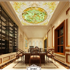 3D Green Dragons and Floral Pattern Waterproof Durable and Eco-friendly Ceiling Murals