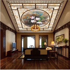 3D Lotus Printed Waterproof Durable and Eco-friendly Ceiling Murals