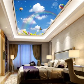 3D Parachutes and Rainbow in Sky Waterproof Durable and Eco-friendly Ceiling Murals