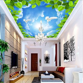 3D Green Leaves in Blue Sky Waterproof Durable and Eco-friendly Ceiling Murals