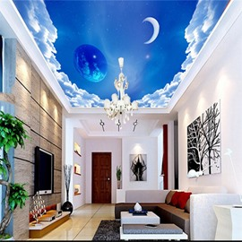 3D Moon and Planet in Blue Universe Waterproof Durable and Eco-friendly Ceiling Murals