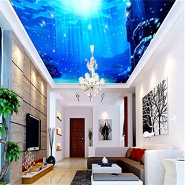 3D Blue Valley Pattern Waterproof Durable and Eco-friendly Ceiling Murals