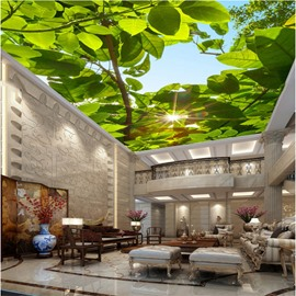 3D Shine through Green Leaves Waterproof Durable and Eco-friendly Ceiling Murals