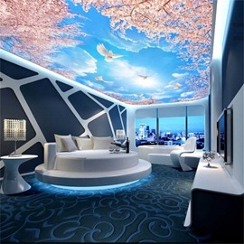 3D Doves Flying in Blue Sky Waterproof Durable and Eco-friendly Ceiling Murals