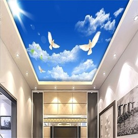 3D Blue Sky and Doves Waterproof Durable and Eco-friendly Ceiling Murals