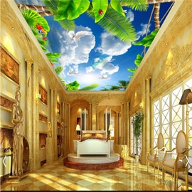 3D Green Plants in Blue Sky Waterproof Durable and Eco-friendly Ceiling Murals