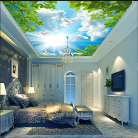 3D Blue Sky and Green Plants Waterproof Sturdy and Eco-friendly Ceiling Murals