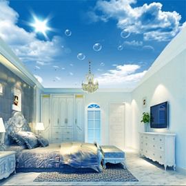 3D Bubbles in Shining Sky Pattern Waterproof Durable and Eco-friendly Ceiling Murals