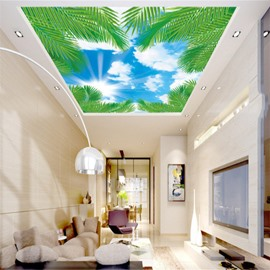 3D Green Plants under Blue Sky Waterproof Durable and Eco-friendly Ceiling Murals