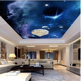 3D Planets in Galaxy Pattern Waterproof Durable and Eco-friendly Ceiling Murals