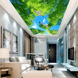 3D Blue Sky Covering Trees and Doves Waterproof Durable and Eco-friendly Ceiling Murals