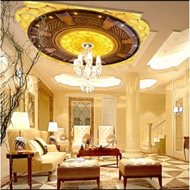 3D Golden Background with Brown Pattern Waterproof Durable and Eco-friendly Ceiling Murals