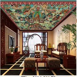 3D Buddha in Temple Pattern Waterproof Durable and Eco-friendly Ceiling Murals