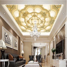 3D Yellow Floral Pattern Waterproof Durable and Eco-friendly Ceiling Murals