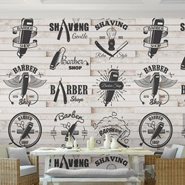 3D Barber Shop Pattern PVC Sturdy Waterproof Eco-friendly Self-Adhesive Wall Mural