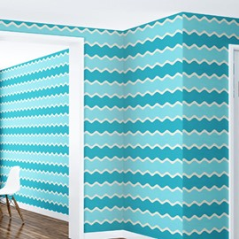 3D Wave Lines PVC Sturdy Waterproof Eco-friendly Self-Adhesive Green Wall Mural