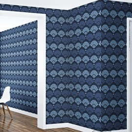 3D Blue Fans Pattern PVC Sturdy Waterproof Eco-friendly Self-Adhesive Wall Mural