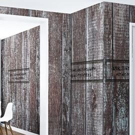 3D Brown Wooden Wall Pattern PVC Sturdy Waterproof Eco-friendly Self-Adhesive Wall Mural