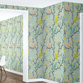 3D Light Green Background Branches PVC Sturdy Waterproof Eco-friendly Self-Adhesive Wall Mural