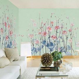 3D Pink Flowers PVC Sturdy Waterproof Eco-friendly Self-Adhesive Light Green Wall Mural