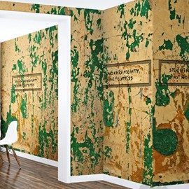 3D Soil Wall Pattern Vintage Style PVC Sturdy Waterproof Eco-friendly Self-Adhesive Wall Mural