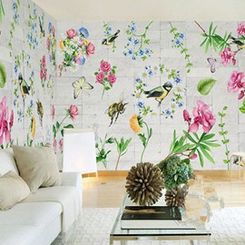 3D Flowers Printed PVC Sturdy Waterproof Eco-friendly Self-Adhesive Wall Mural