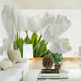 3D White Flowers Printed Sturdy Waterproof and Eco-friendly Wall Mural