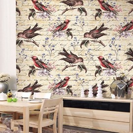 3D Birds on Branches PVC Sturdy Waterproof and Eco-friendly Self-Adhesive Wall Mural
