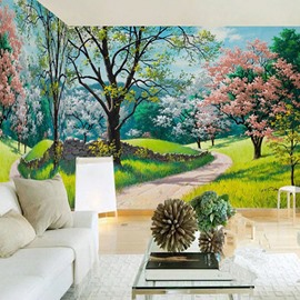 3D Trees and Lawn Printed Sturdy Waterproof and Eco-friendly Wall Mural