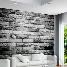 3D Grey Brick Wall Printed Sturdy Waterproof and Eco-friendly Wall Mural