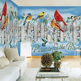 3D Birds on Wooden Railings PVC Sturdy Waterproof and Eco-friendly Wall Mural