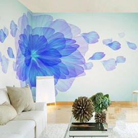 3D Blue Flower Painting PVC Sturdy Waterproof and Eco-friendly Wall Mural