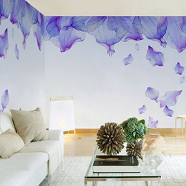 3D Falling Purple Petals Painting PVC Sturdy Waterproof and Eco-friendly Wall Mural